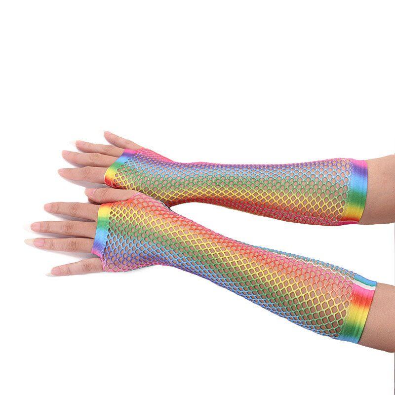 Hot Trendy Women Gloves Hollow Out Holes Gloves Rainbow Print Disco Dance Costume Performance Fingerless Mesh Fishnet New Gloves