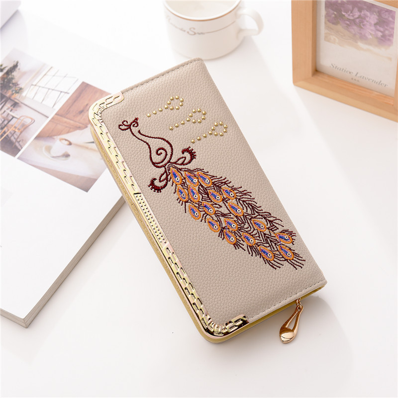 Women's wallet PU peacock-clutch Embroidery long wallet Clutch female with mobile pocket Card holder luxury wallets for women