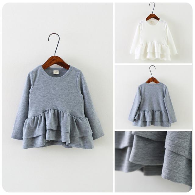 2016 Primavera Nuevo Patrón de Han de la ropa de Los Niños de La Muchacha Bebé Doble-deck Lotus Borde de la Hoja de Color Sólido Falda de La Manera chaqueta