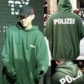 Polizei Impreso de Gran Tamaño Otoño Hombre Sudaderas de Color Verde Con Capucha Bolsillo Flojo Pullovers de Manga Larga Hombres de La Moda de Ropa de Mujer