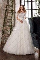 Customized wedding ball gowns 2019 boat neck short sleeve wedding dresses long berta robe de mariage sirene