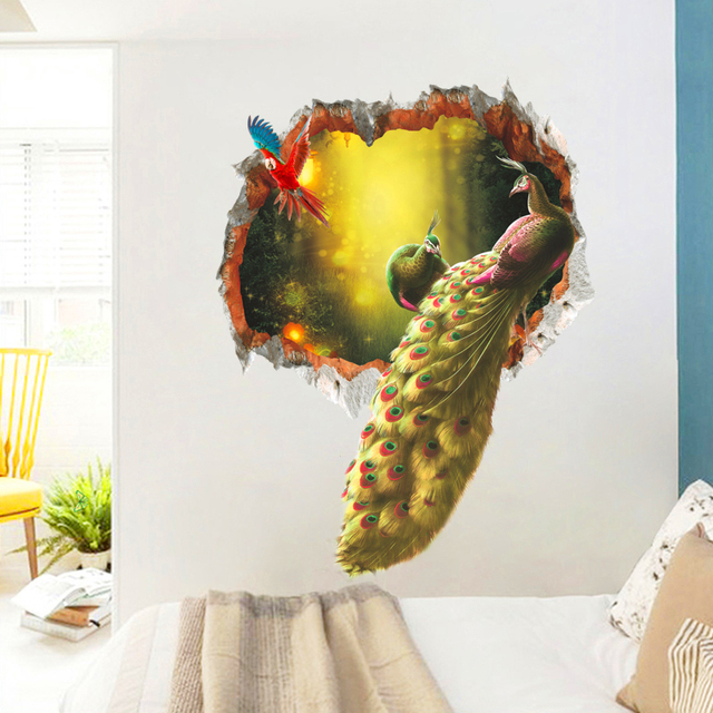 dd603797d4c noble peacock feathers parrot through wall stickers home decor living room  vivid pvc animal wall decals diy posters mural art