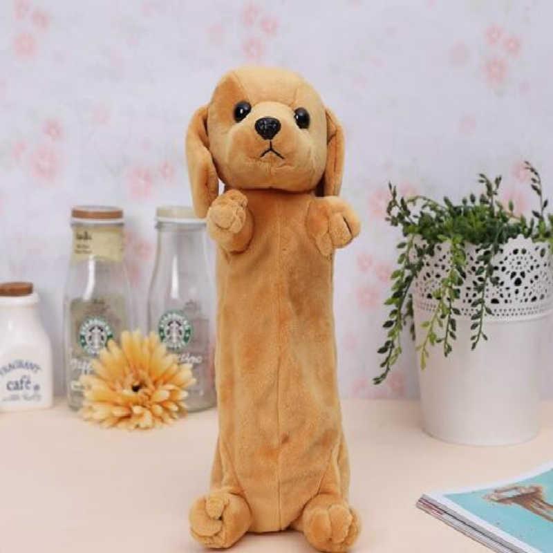 Tas Pensil Kartun Plush Anjing Puppy Sekolah Labrador Borde Collie Golden Retriever Chihuahua Schnauzer Hewan Lucu untuk Anak-anak