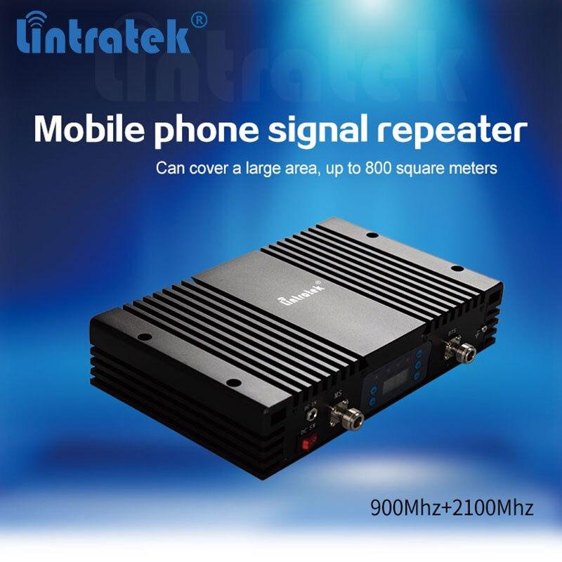 Répéteur GSM 900 Mhz + 3G WCDMA 2100 Mhz à gain Élevé 70dB BORD/HSPA Mobile téléphone Double Bande signal Booster avec écran LCD AGC/MGC