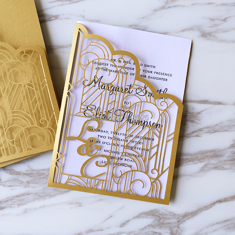 Personalized Initials 50pcs Gold Gatefold Wedding