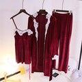 Yomrzl A345 nova chegada da primavera e do outono das mulheres pajama set 3 peça conjunto sono manga longa pijamas roupa interior