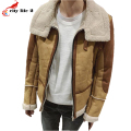 2016 Winter New Arrival Men's Lamb Wool Suede Jacket Coat Thick Male Warm Jacket Turn-Down Collar Color Stitching Size M-XXL