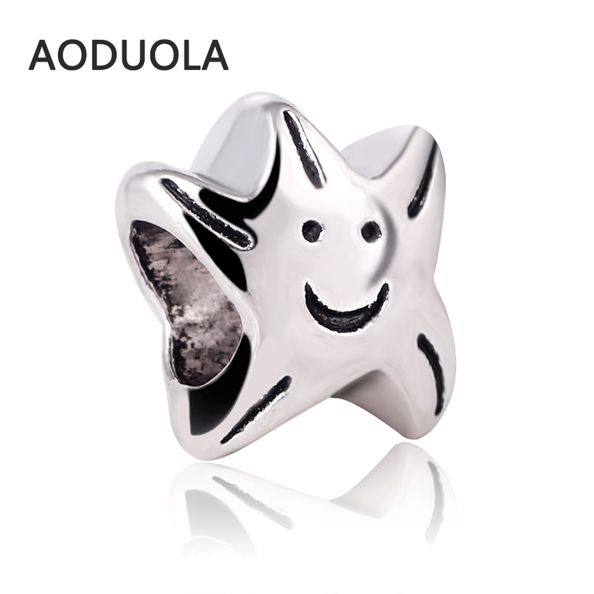 10 Pcs a Lot Silver Alloy Beads Smiling face star DIY Big Hole Beads Spacer Murano Bead Charm Fit For Pandora Charms Bracelet