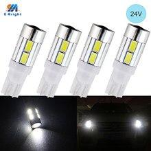 Ym e-brilhante 24v 4 pces t10 w5w led interior luzes 5630 10 smd tronco lâmpadas 194 168 para caminhões de carro cortesia lâmpada da placa de licença 2825