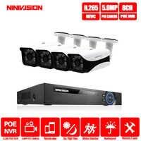 H.265 8CH 5MP sistema de cámara CCTV POE NVR Kit 3,6mm lente interior exterior impermeable 5MP POE IP cámara de seguridad sistema de vigilancia