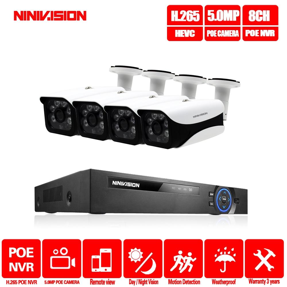 H.265 8CH 5MP système de caméra de vidéosurveillance POE NVR Kit 3.6mm lentille intérieure extérieure étanche 5MP POE IP caméra système de Surveillance de sécurité