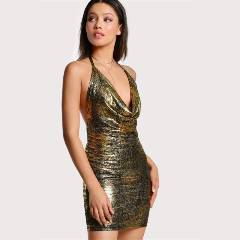 COLROVIE Backless Drape Neck Halter Tie Metallic Dress 2017 Gold Cowl Neck Sleeveless Bodycon Dress Women Sexy Christmas Dress 8