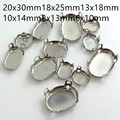 Wholesale 100pcs oval Metal Claw Setting Silver Clasp For Sewing On Stone 8x10mm10x14mm13x18mm18x25mm
