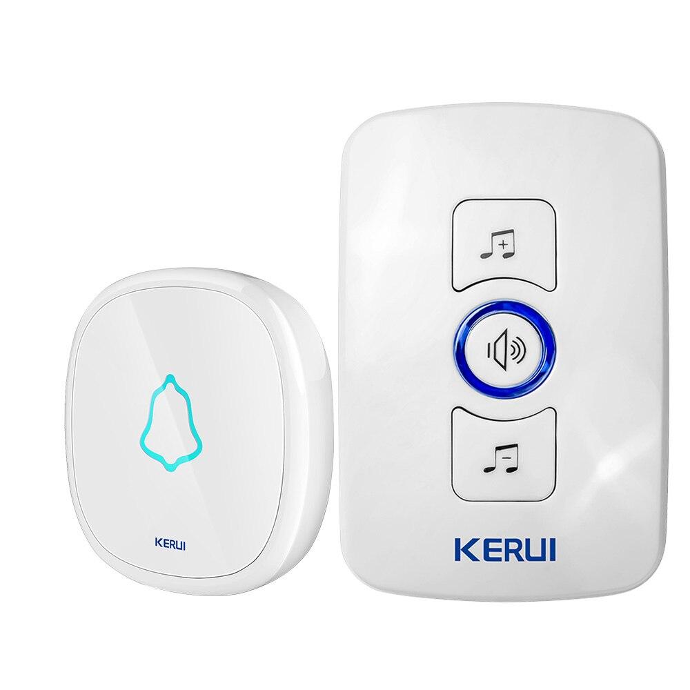 Image 3 - Kerui botão de toque campainha sem fio à prova dcordless água led  luz sem fio kit campainha da porta de casa inteligente com 32 sinos  alarme da portaCampainha