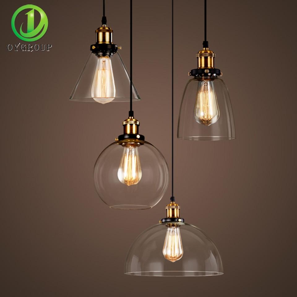 Vintage Transparent Glass Shade Pendant Lights Industrial Edison E27 Bulb Pendant  Lamp For Restaurant Bar Living