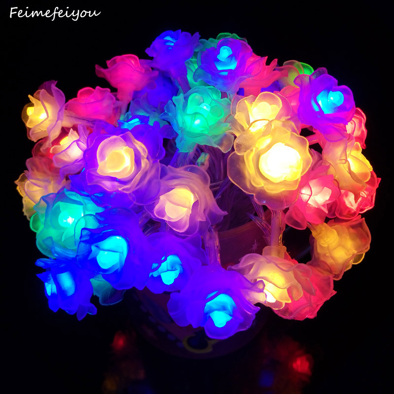 2m 20 LED Rose Light String Battery Power Flower Fairy Lights String Festival Decoration Christmas Lighting Garden Courtyard