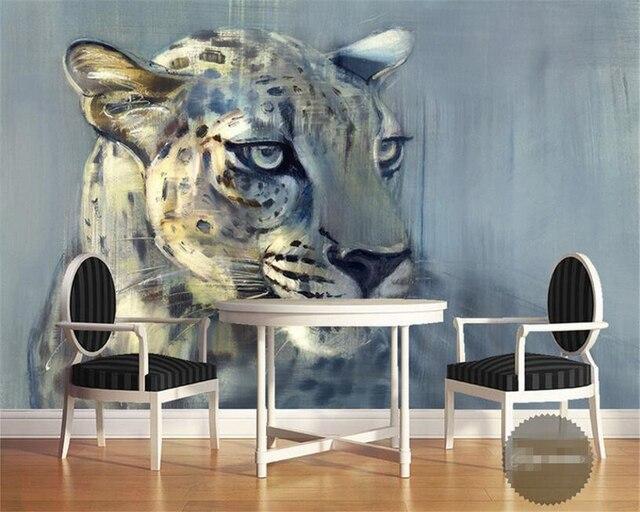 Schon Beibehang Nach Foto Tapete 3D Leopard Close Up Tier Ölgemälde Tapete  Wohnzimmer Schlafzimmer Innen Tapete