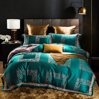 Luxury Satin Jacquard Duvet Covers Cotton Bedsheets Queen King Size Bedding Set Green Blue Purple Pink White