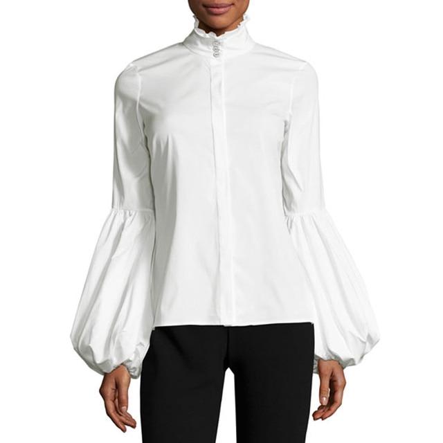Women Lantern Sleeve Blouse Ladies Fashion Long Cotton Tops Female Vintage plus size  Stand Collar camisa Black and white Shirts