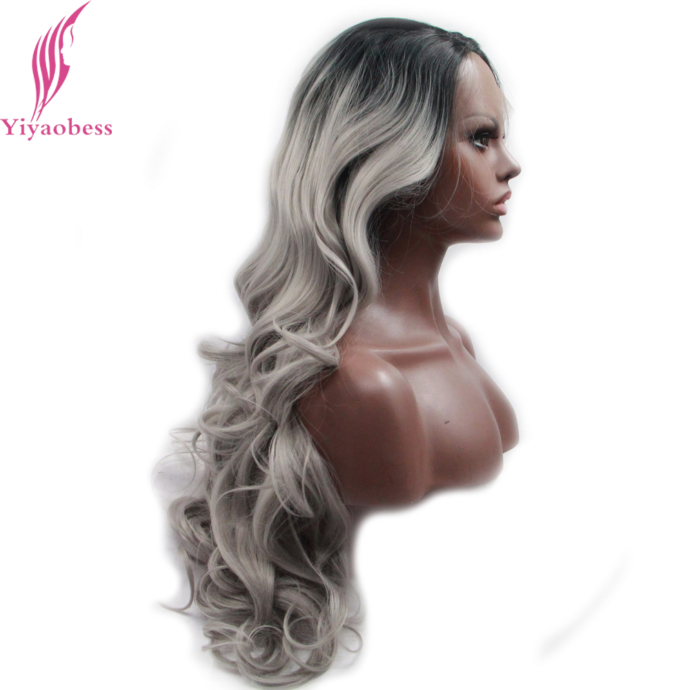 Yiyaobess U Part Black Grey Ombre Lace Front Wig Synthetic Glueless Heat Resistant Long Wavy Wigs For African American Women
