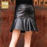 2019 Genuine Leather Skirts Women Black Real Sheepskin Leather Female High Waist Streetwear Top Quality Ladies Mini Skirts Punk