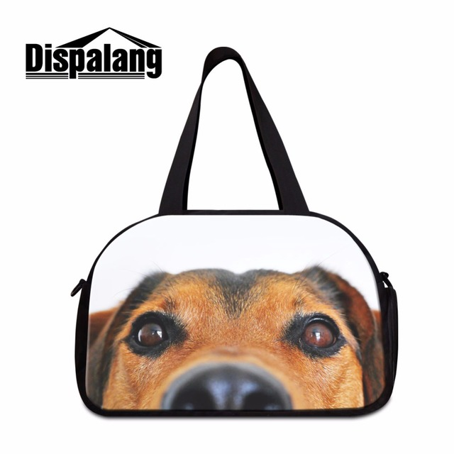 Dispalang Pet Dog Printing Men Travel Bags Hand Luggage Canvas Duffle Bag Male Overnight For
