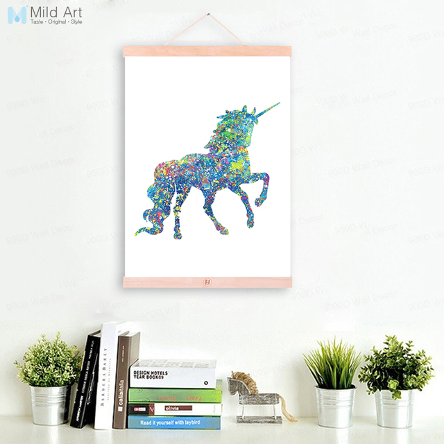 Modern watercolor abstract unicorn nico wooden framed canvas painting kids room home decor wall art print