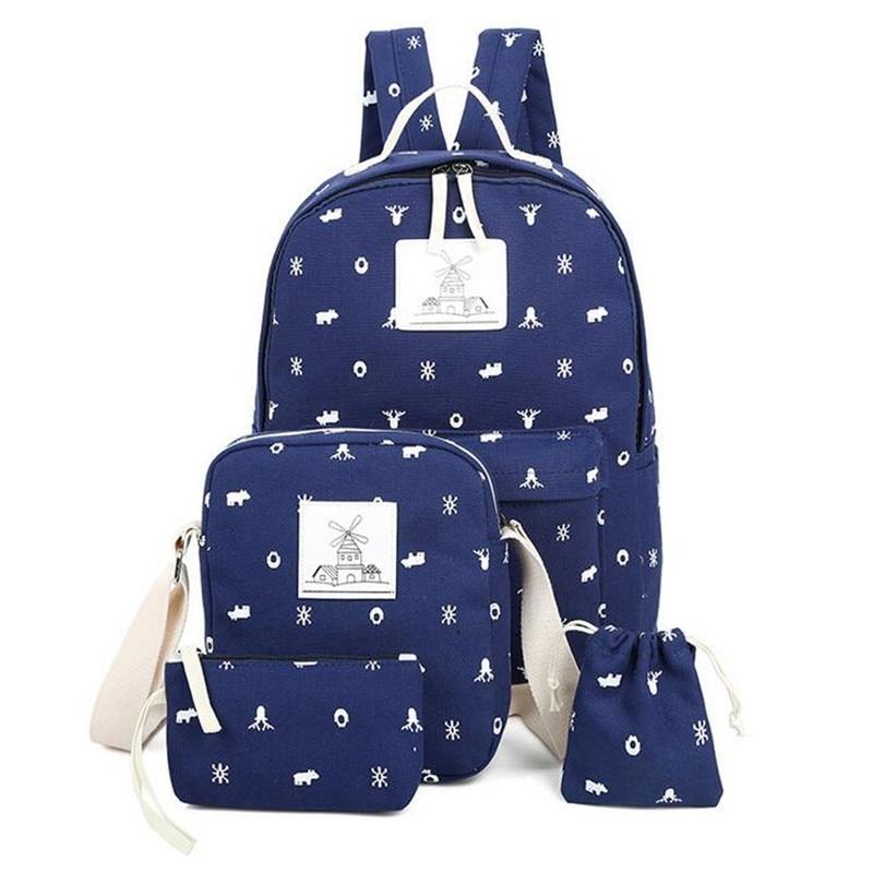 ECOPARTY bolsas Student Canvas Backpack Printing School Bag For Teenagers Preppy Book Shoulder Bag Mochila Escolar