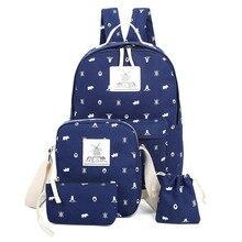 Ecoparty Bolsas студент холст рюкзак печати школьная сумка для подростков опрятный Книга сумка Mochila Escolar 4PCS комплект