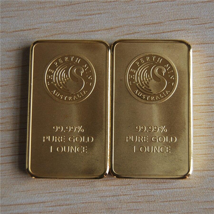 1 oz gold bar Perth Mint minted black swan gold bar no magnetic 50pcs lot DHL