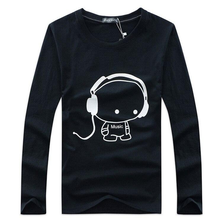 Jalee Homme chaude 2018 new100 % coton la imprimer casual mens o-cou t chemises de mode hommes tops hommes T-shirt À manches Longues hommes t-shirt