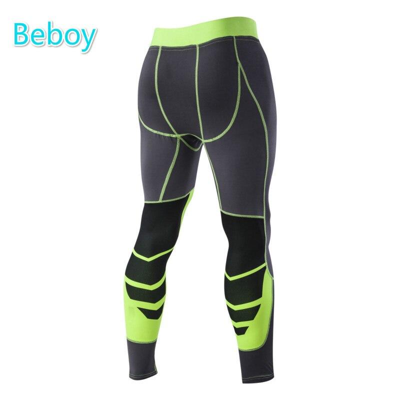 Prix pour Beboy À Séchage Rapide Compression Pantalon Hommes Patchwork Collants Running Leggings Pleine Longueur Haute Élastique Bodybuilding Fitness Leggings