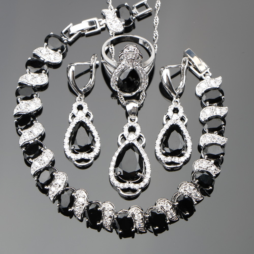 все цены на Zircon Silver 925 Costume Wedding Jewelry Sets Women Charms Bracelets Pendants Necklaces Rings Earrings With Stones Set Gift Box