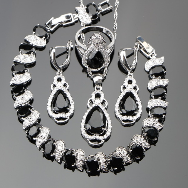 Zircon Silver 925 Costume Wedding Jewelry Sets Women Charms