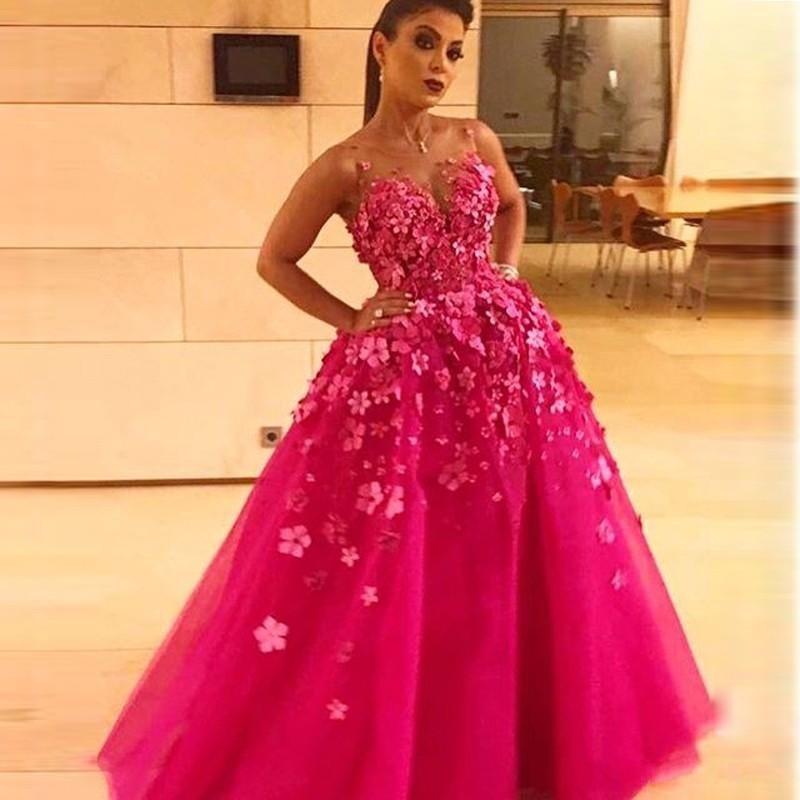 Robe De Soiree 2017 Fashion Bright Pink A Line Long