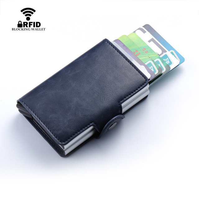 Men And Women Business Credit Card Holder Metal RFID Double Aluminium Box Crazy Horse Leather