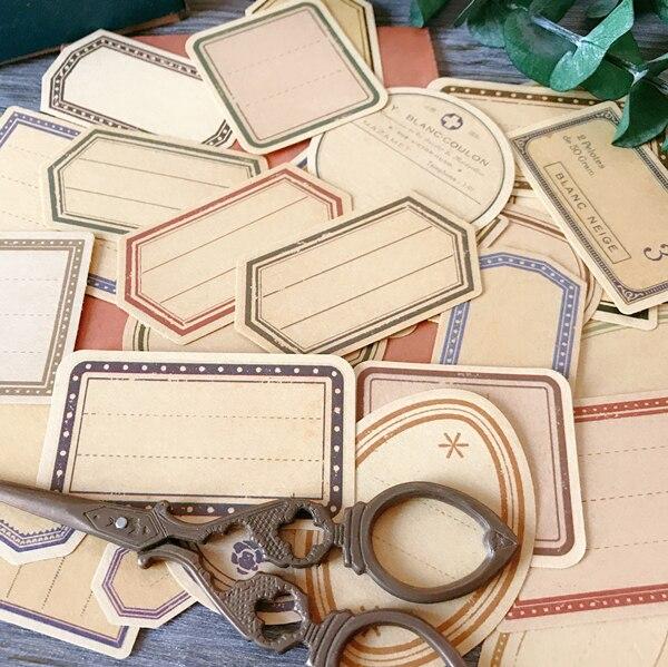 KSCRAFT 30pcs Vintage Kraft Paper Labels Stickers For Scrapbooking Happy Planner/Card Making/Journaling Project