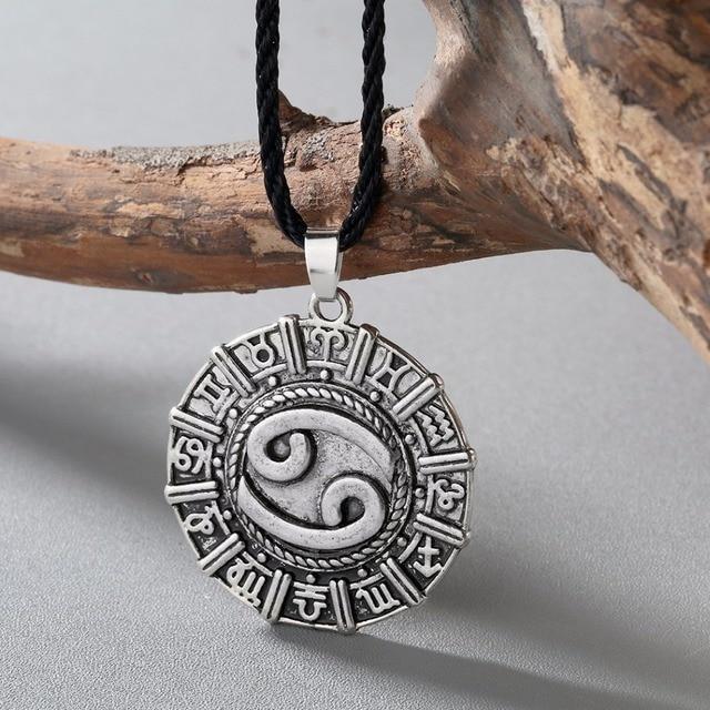 Astrologie Scandinave chengxun antique hommes collier cancer karkat zodiaque bijoux