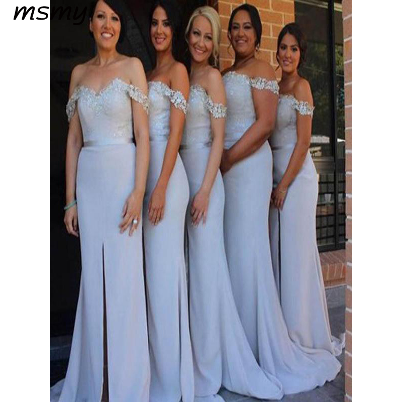Elegant Mermaid   Bridesmaid     Dresses   Off Shoulder Split Side Long Cheap Long   Bridesmaid     Dresses   With Lace Custom Made