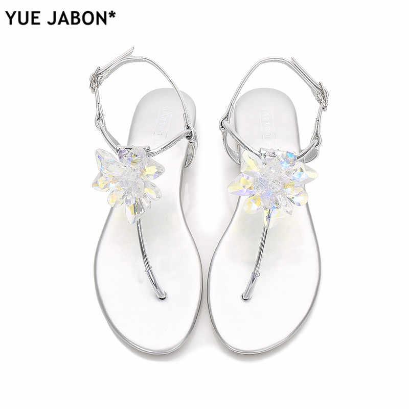 75f23b459742 2019 shoes woman sandals women Rhinestones Chains Flat Sandals plus size  Thong Crystal Flip Flops sandals