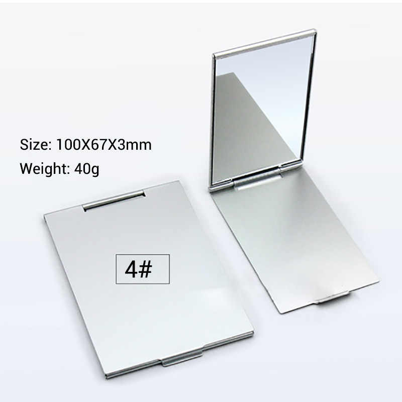 Ultra-thin Makeup Mirror Vanity Mirror Cosmetic 5 Sizes Make Up Pocket Silver Rectangle Foldable Compact Makeup Folding Mirrors