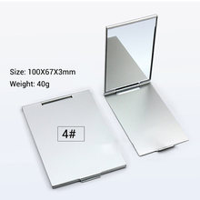 Ultra-thin Makeup Mirror Vanity Mirror Cosmetic 5 Sizes Make Up Pocket Silver Rectangle Foldable Compact Makeup Folding Mirrors(China)
