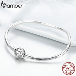 Image 3 - BAMOER 100% 925 Sterling Silver Lion Animal Round Clasp Snake Strand Chain Bracelets for Women Sterling Silver Jewelry SCB054