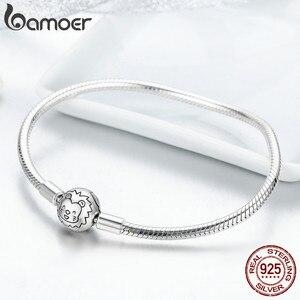 Image 3 - Bracelete de prata refinada 100% bamoer, joia com fecho redondo de leão, fio de cobra, joia feminina de prata esterlina 925 scb054