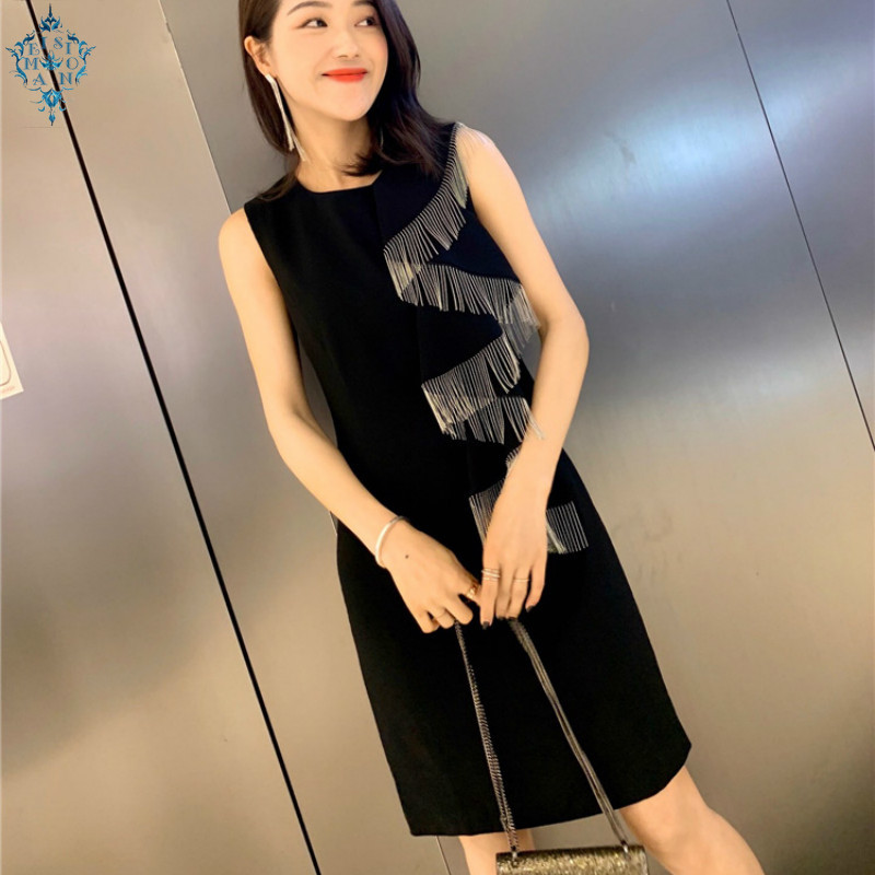 Ameision 2019 New Women Cotton Solid Sleeveless Luxury Dresses famous lady tassels chain decoration mid-length dress
