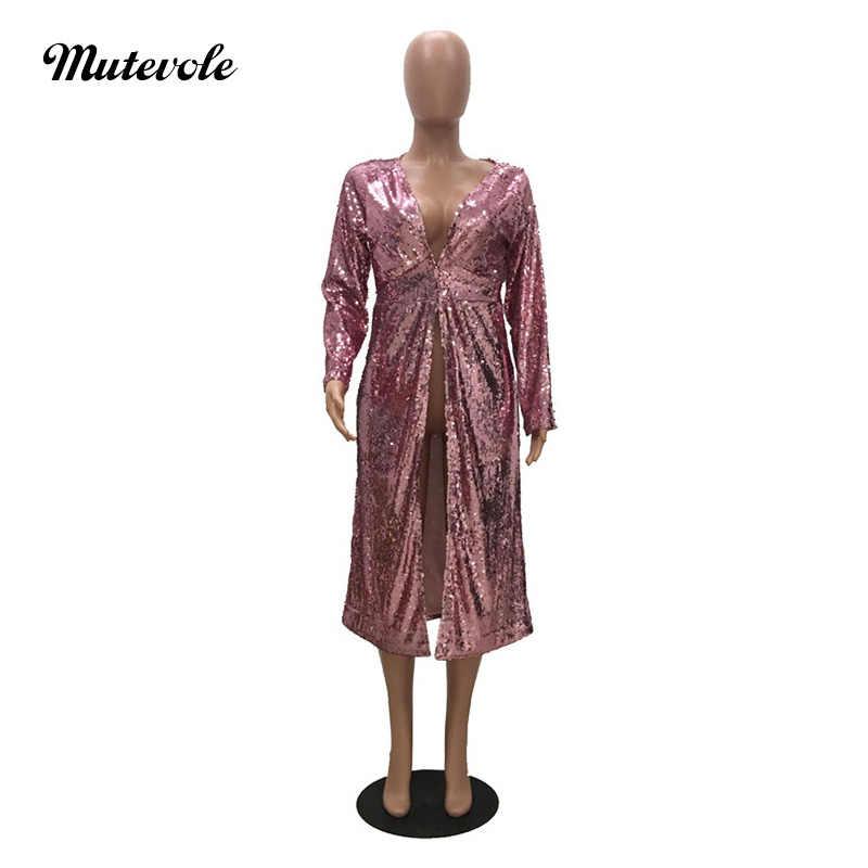 6b978f6c20f ... Mutevole Hot Women Full Sleeve Sequin Coat Jacket Sexy Night Party  Clubwear Glitter Long Tunic Tops ...