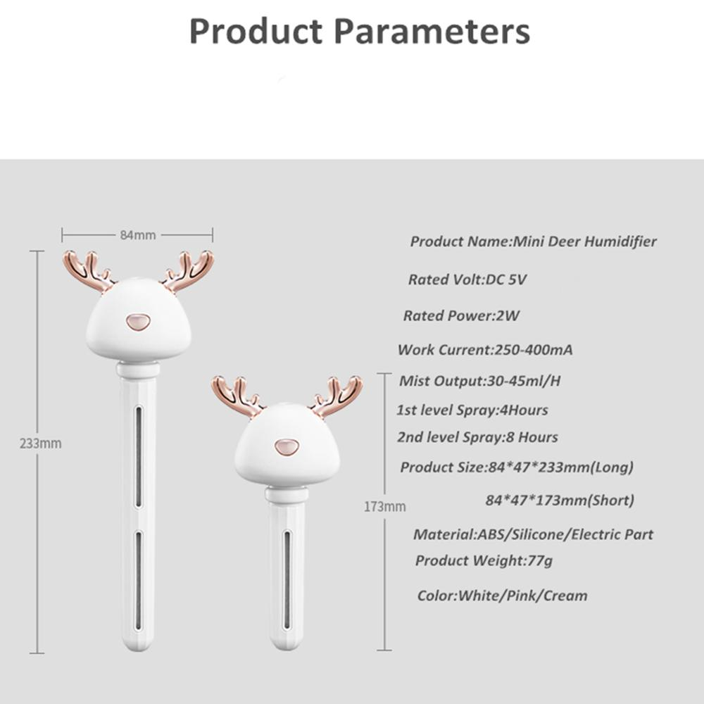 Mini Deer Humidifier Ultrasonic Cool Mist USB Air Humidificadors For Hotel Travel Car Office Living Room Aroma Air Diffuser in Humidifiers from Home Appliances