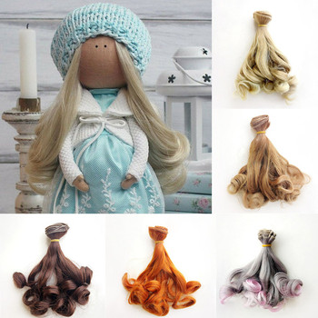 1PC 15*100CM Gradient/Natural Color Curly Hair Extensions for BJD/SD/Blyth/American All Dolls DIY Doll Wigs Heat Resistant Wire 1 pieces 15 100cm wool hair wefts for bjd sd blyth russian hand dolls curly hair extensions diy doll wigs hair doll accessories