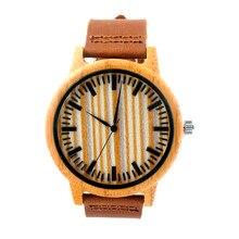 Горячий Продавать Японский MIYOTA Движение Смотреть Натуральная Кожа Бамбук Деревянные Часы Для Мужчин И Женщин Браслет Творческий