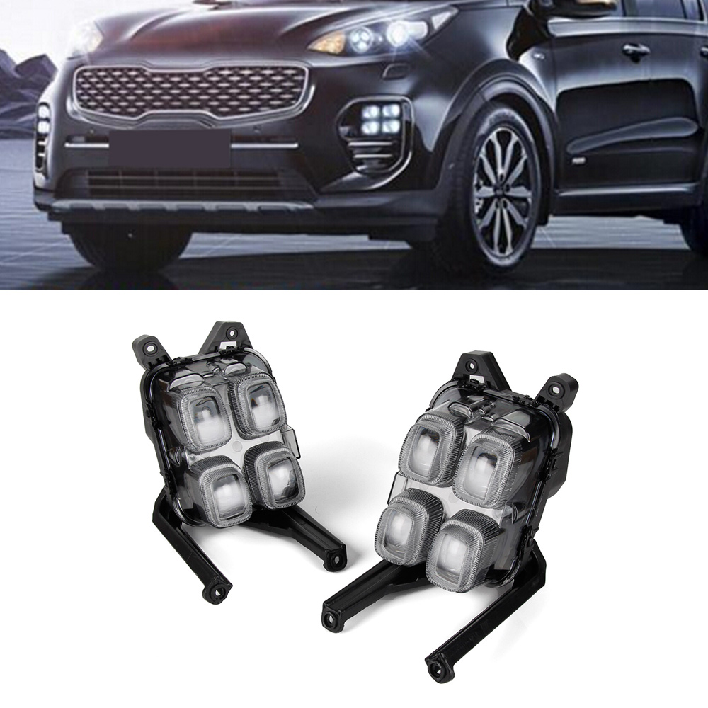 Auto Daytime Running Lights Driving Fog Lamp White LED Car Day Light DRL For KIA KX5 2016-2017 wljh 2x car led 7 5w 12v 24v cob chip 881 h27 led fog light daytime running lamp drl fog light bulb lamp for kia sorento hyundai